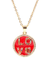 Fashion Red Love Letter Round Diamond Drop Zircon Stainless Steel Necklace