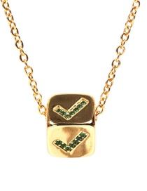 Fashion Green Hook Golden Sieve Three-dimensional Square Necklace