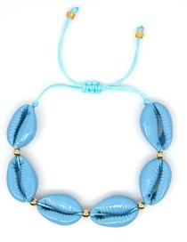 Fashion Blue Rice Pearl Woven Rainbow Pentagram Eye Painted Shell Bracelet