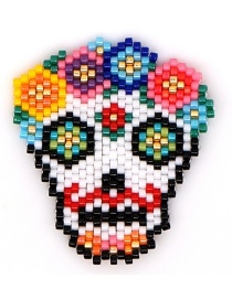 Fashion Color Rice Beads Woven Skull Pattern Accessory