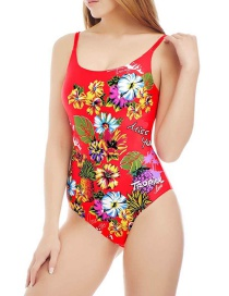 Fashion Red Printed One-piece Swimsuit