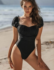 Fashion Black Mesh Stitching Puff Sleeve One-piece Swimsuit