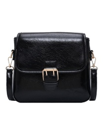 Fashion Black Embossed Belt Buckle Shoulder Bag