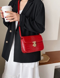 Fashion Red Crocodile-lock Shoulder Bag