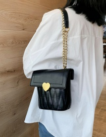 Fashion Black Diamond Chain Lock Cross-body Bag