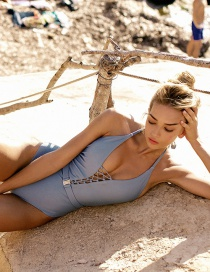 Fashion Blue Rope Deep V-neck One-piece Swimsuit