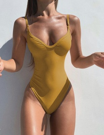Fashion Turmeric Solid Color One Piece Swimsuit
