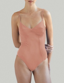 Fashion Pink Solid Color Paneled Underwire One-piece Swimsuit