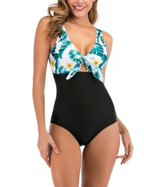 Fashion Green Leopard Print Lace Up One Piece Swimsuit