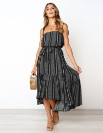 Fashion Black Striped Printed Patchwork Lace-up Ruffle Camisole Dress
