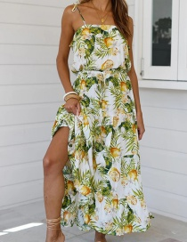 Fashion Yellow-green Printed Lace-up Patchwork Dress