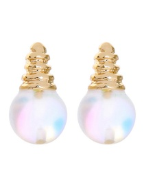 Fashion Golden S925 Silver Round Shell Stud Earrings