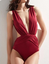 Fashion Red Pleated Cross Deep V One Piece Swimsuit