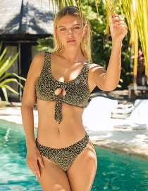 Fashion Golden Leopard Print Printed Cutout Ring Split Swimsuit