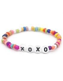 Fashion Color Rainbow Glass Bead Alphabet Love Elastic Rope Bracelet
