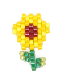 Fashion Yellow Flower Rice Beads Woven Accessories Fruit Pattern Accessories