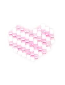 Fashion Pink + White Mizhu Weaving Rainbow Love Series Accessories