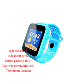Fashion I9 Touch Screen + Side Card (carton Package) Blue Waterproof Positioning 1.44 Inch Key Touch Screen Smart Children Phone Watch