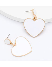 Fashion White Heart-shaped Alloy Oil Drop Geometric Earrings