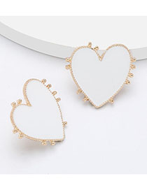 Fashion White Love Heart Shaped Earrings With Lace Alloy