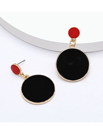 Fashion Black Multi-layered Round Alloy Drip Oil Geometric Earrings