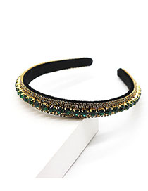 Fashion Green Phnom Penh Multi Row Diamond Headband