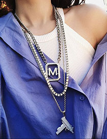 Fashion Silver Letter M Full Diamond Necklace