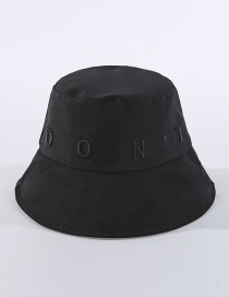 Fashion Black Embroidered Letter Fisherman Hat