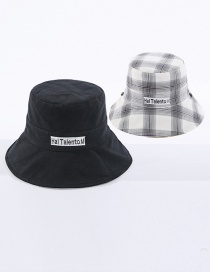 Fashion Black Lattice Letter Embroidered Double-sided Cotton Foldable Fisherman Hat