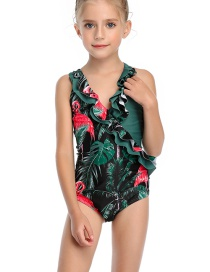 Fashion Green V-neck One-piece Swimsuit With Flash Print And Stitching