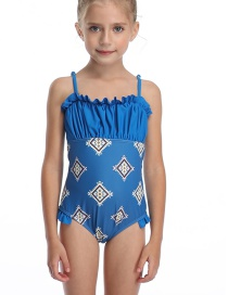 Fashion Royal Blue Printed Pleated Fungus Panel One Piece Swimsuit For Children