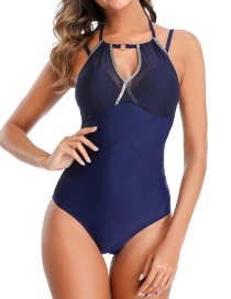 Fashion Tibetan Blue Mesh Stitching Halter Hollow One-piece Swimsuit