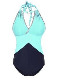 Fashion Sky Blue Mesh Stitching Halter Hollow One-piece Swimsuit