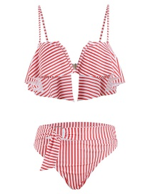 Fashion Pink Striped Underwire V-neck Ruffled Print Split Swimsuit