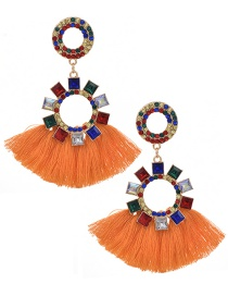 Fashion Orange Alloy Tassel Stud Earrings