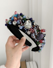 Fashion Color Resin Beaded Hairband With Diamonds