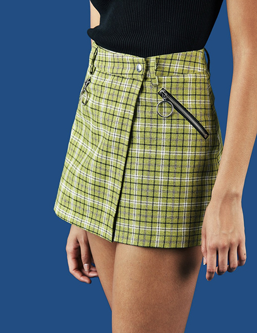 Fashion Green Check Stitching Ring Zip Skirt