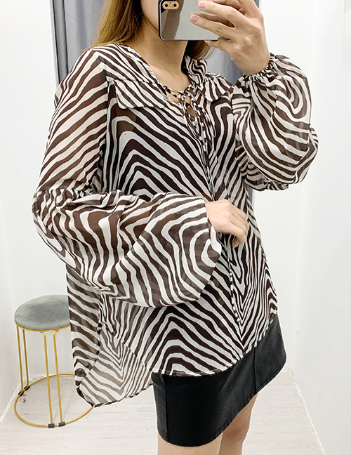 Fashion Zebra Pattern Zebra Print Lace-up Top