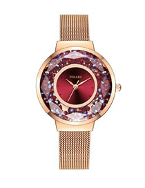 Fashion Red Fine Mesh Strap Quicksand Quartz Watch