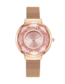 Fashion Pink Fine Mesh Strap Quicksand Quartz Watch