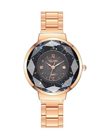 Fashion Rose Gold With Black Face Steel Quartz Watch With Diamonds And Cut Face