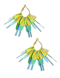 Fashion Yellow Alloy Resin Sequin Earrings