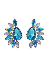 Fashion Blue Alloy Stud Earrings With Diamonds