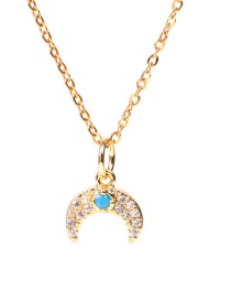 Fashion Golden Blue Diamond Horn Stainless Steel Necklace