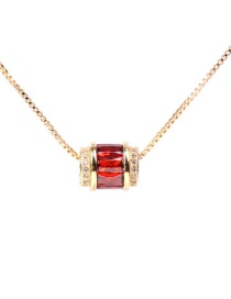 Fashion Red Micro Inlaid Zircon Macroporous Golden Clavicle Chain