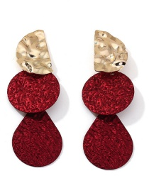 Fashion Red Contrast-stitched Geometric Uneven Metal Earrings