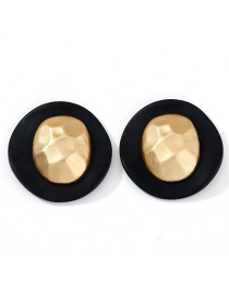 Fashion Golden Geometric Round Irregular Embossed Alloy Stud Earrings