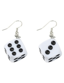 Fashion White Acrylic Dice Oil Drop Earrings
