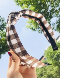 Fashion Coffee Color Plaid Fabric Knotted Non-slip Wide Edge Hair Band
