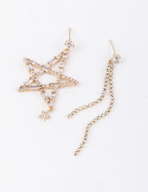 Fashion Golden Diamond Asymmetrical Earrings With Stars And Tassel